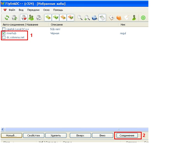 В окне избранные хабы нажмите на кнопку новый, добавьте хаб dctd-netru